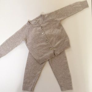 Peek tan and white dot matching pants & sweater